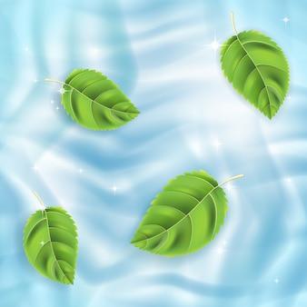 Векторный фон, зеленые листья на голубой воде