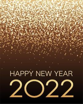 Illustrazione di sfondo vettoriale che celebra l'anno 2022 con luce di particelle di scintillio d'oro