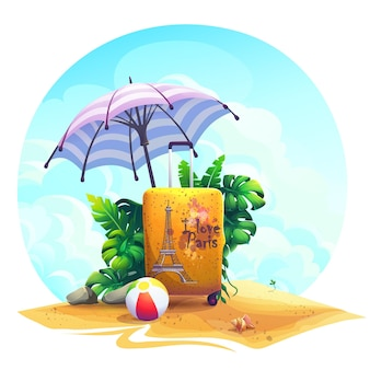 Vector background illustration travel suitcase, ball, stones, bush on the sand.