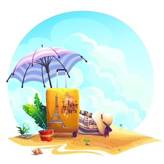 Vector background illustration travel suitcase, beach umbrella on the sand.