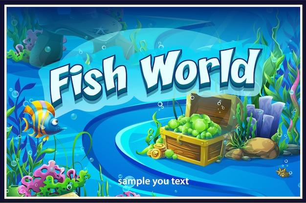 Vector background illustration of the underwater world.
