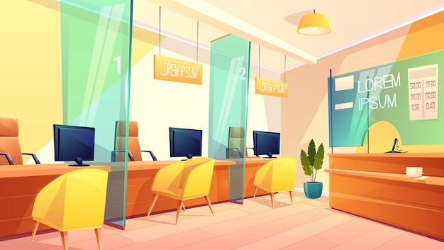 Векторный фон офис банка, счетчики для менеджеров и клиентов. яркий интерьер места финансов, консалтингового лобби и витрины с обменным курсом. бизнес-концепция