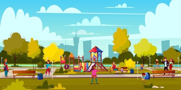 Векторный фон из мультфильма детской площадки в парке с людьми, играющими детьми