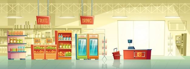 Векторный фон пустого супермаркета