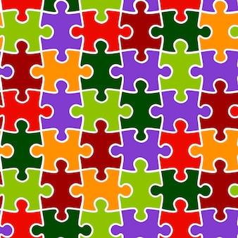 여러 가지 빛깔된 퍼즐의 벡터 배경 완벽 한 패턴입니다. 벽지 및 포장을 위한 밝은 질감.