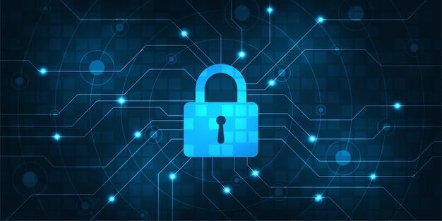 Векторный фон безопасная цифровая система безопасности.