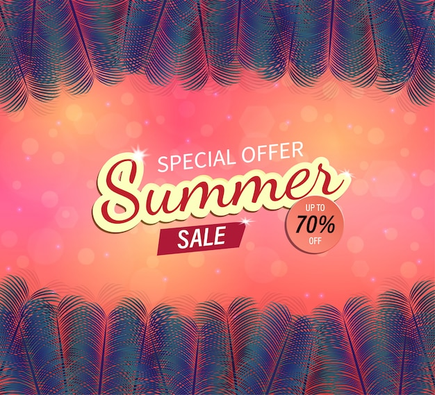 Vector background and trendy summer sale banner.