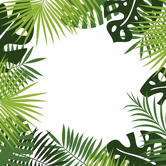 Vector background of tropical green foliage of rainforest and jungle plants