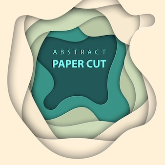 Vector background with beige and green paper cut