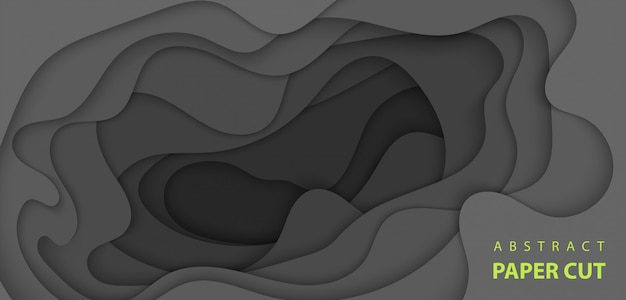 Vector background with black color paper cut