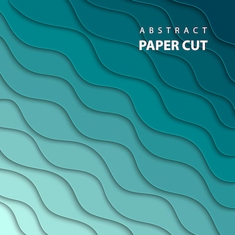 Vector background with blue gradient paper cut