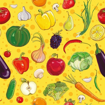 Vector background with bright colorful vegetables and fruits. seamless pattern.