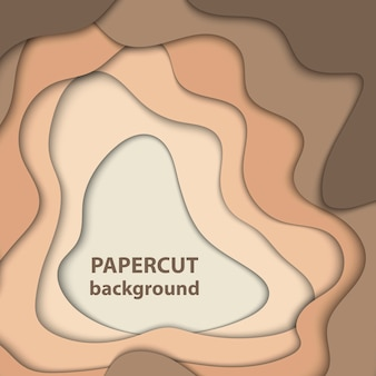 Vector background with brown and beige color paper cut shapes. 3d abstract paper art style.