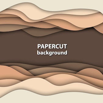 Vector background with brown and beige paper cut