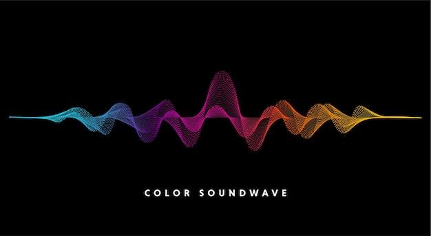 色の抽象的な波のドットとベクトルの背景