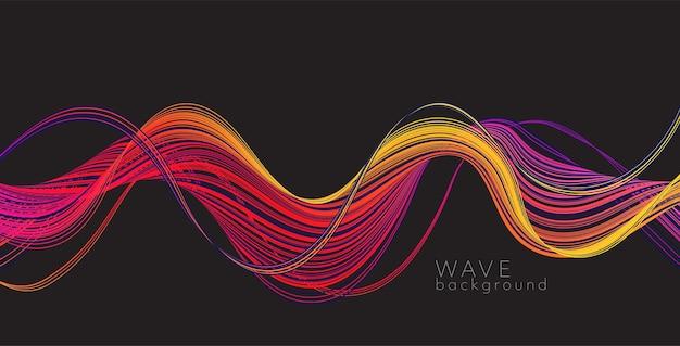 색상 추상 파와 벡터 배경입니다. 현대 과학 배너