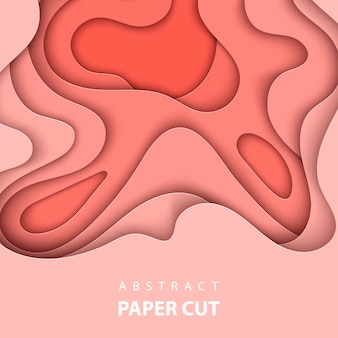 Vector background with coral color paper cut