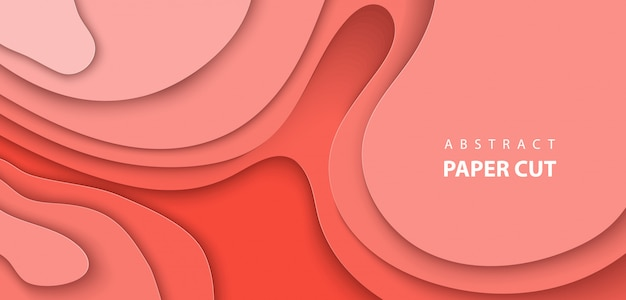 Vector background with coral trend color paper cut