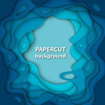 Vector background with deep blue color paper cut