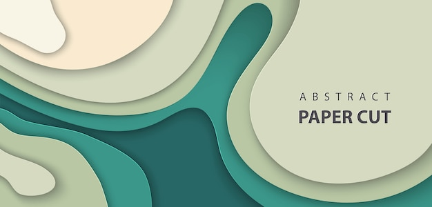 Vector background with deep green color paper cut