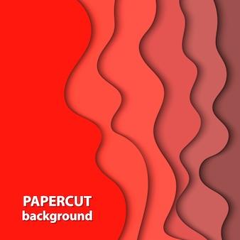 濃い赤の色紙カットのベクトルの背景