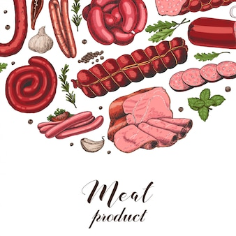 Vector background with different color meat products