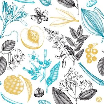 향기로운 과일과 꽃이 있는 벡터 배경 손으로 스케치한 향수 및 화장품 성분 배경 아로마 및 약용 식물 디자인 브랜드 또는 포장을 위한 식물 원활한 패턴