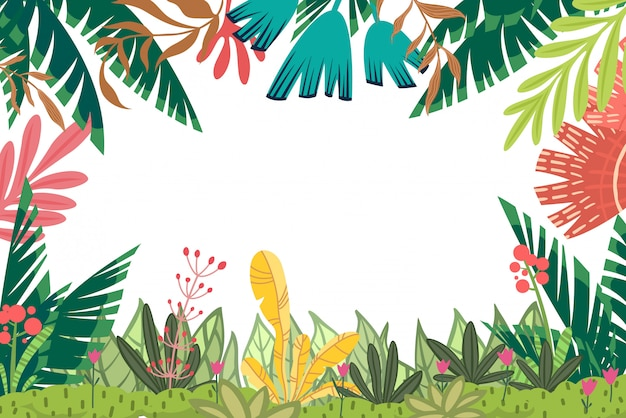 Vector background with frame of bright stylized floral elements. horizontal card