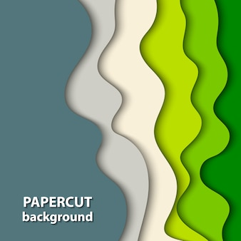 Vector background with green and beige paper cut