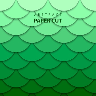 Vector background with green gradient color paper cut shapes