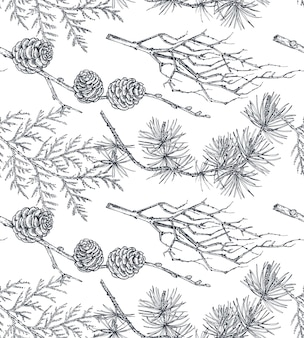 Vector background with hand drawn conifers trees in sketch style. seamless pattern with plants and branches. vintage holiday decor.