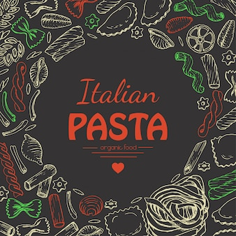 Vector background with italian pasta on dark background