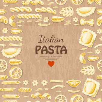 Vector background with italian pasta