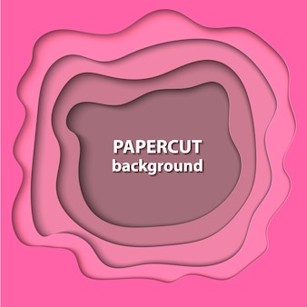 Vector background with pink color paper cut
