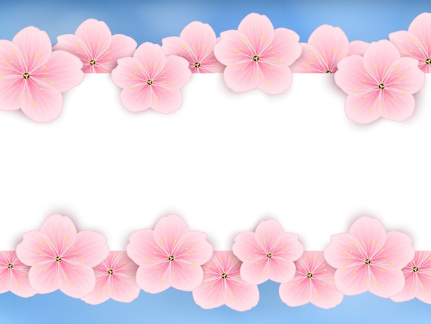 Vector background with pink spring flowers.