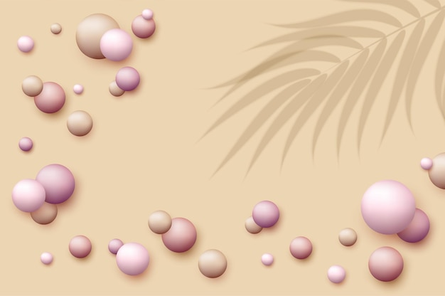 Vector background with realistic 3d balls round sphere in pearls pastel colors on beige backdrop powder balls foundation blush abstract template for social media advertising cosmetic cover