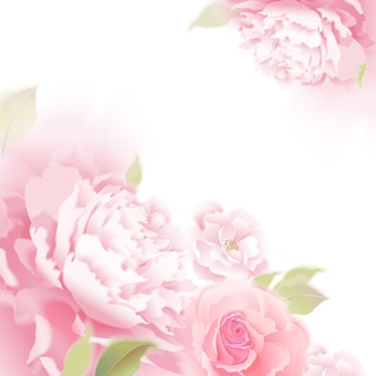 Vector background with roses and peonies.
