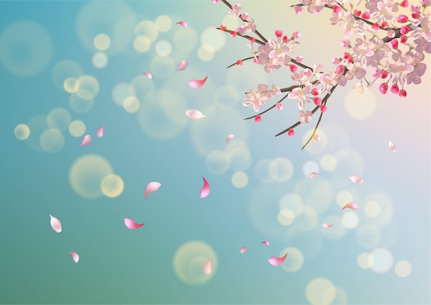 봄 벚꽃 벡터 배경입니다. 떨어지는 꽃잎과 봄 날에 사쿠라 지점