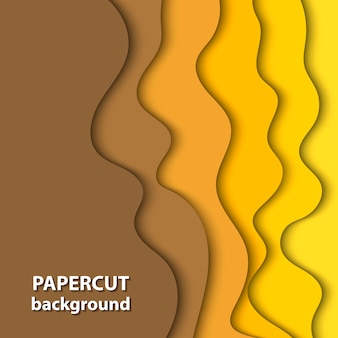 Vector background with yellow color paper cut