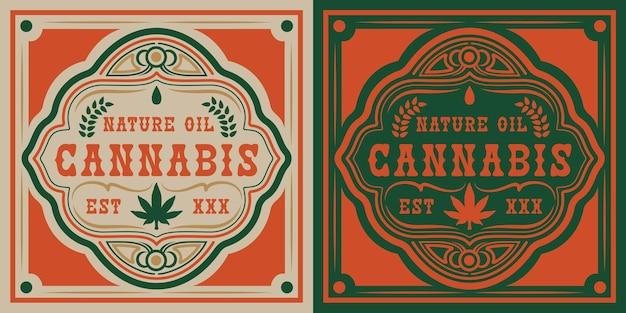 Vector badge of cannabis leaf.