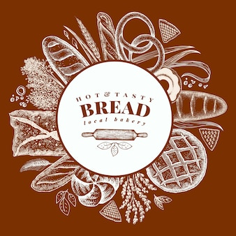 Vector bakery hand drawn illustration. background with bread and pastry.
