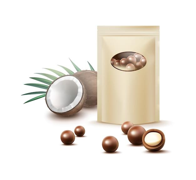Вектор мяч шоколадные конфеты с кокосовой начинкой и пустой пакет охры для брендинга вид спереди, изолированные на белом фоне