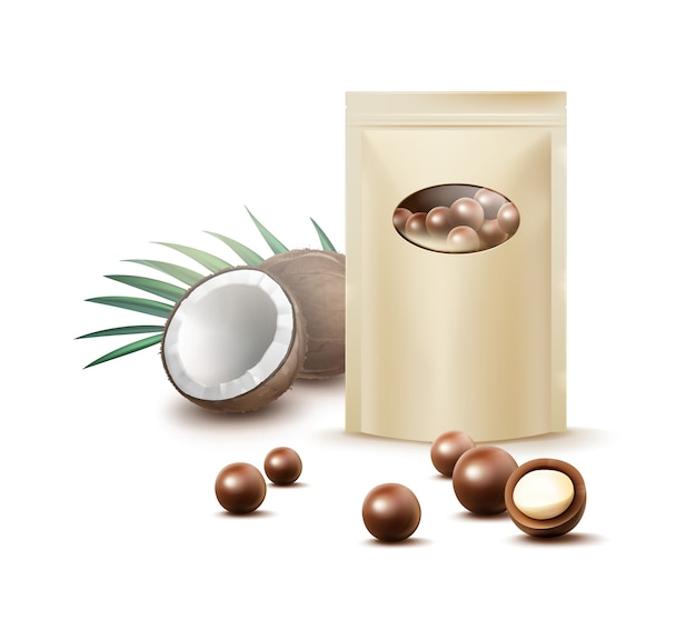 Vector ball chocolate candies with coconut filling and blank ocher pack for brending front view isolated on white background