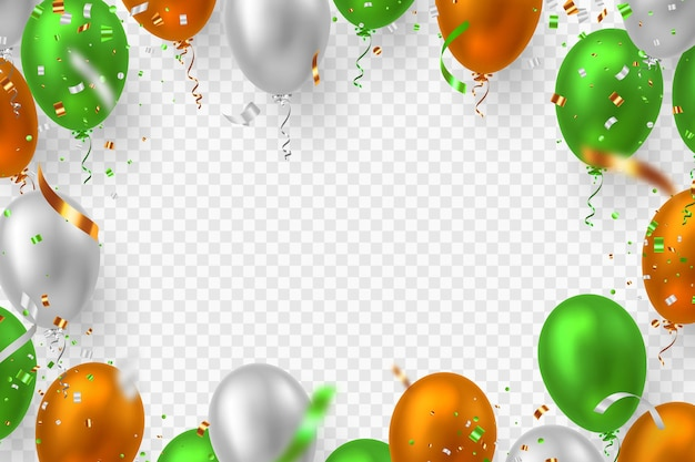 Vector balloons frame in traditional tricolor of indian flag. decorative realistic elements for national holidays of india. isolated on transparent background.