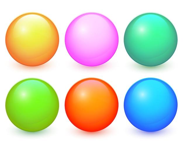 カラフルな円球のベクトルボール3dセット