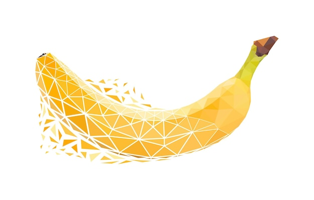Vector banana in low poly style. digital art