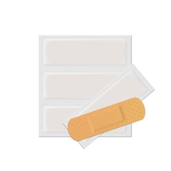 벡터 붕대 석고 원조 밴드 의료 접착제 세트 흰색 절연