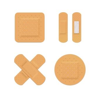 Vector bandage plaster aid band medical adhesive set isolated on white