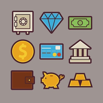 Vector bank and money items modern flat icons set. banking and finance app web elements collection. earnings and savings. colorful elements for mobile game and web application