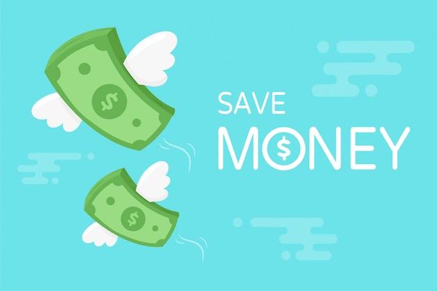 벡터 지폐 달러입니다. 하늘에서 상승하는 날개를 가진 지폐입니다. 세금을 지불하고 돈을 절약하는 개념.